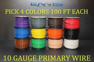 10 GAUGE WIRE ENNIS ELECTRONICS PICK 4 COLORS 100 FT EA CABLE AWG COPPER CLAD