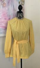 Vtg 1960'sKay Windsor Yellow Women's Belted Blouse Silver Embellished Collar