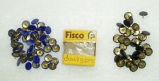 82 x Vintage 1970's FISCO Drawing Pins - 36 BLACK + 44 BLUE Thumb Tacks UK Made