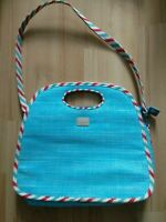 Lulu Guinness London Woven Handbag Shoulder Red White Blue Summer