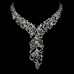 Heated Oval Ruby Emerald Sapphire Marcasite 925 Sterling Silver Necklace 17.5in