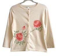 Garnet Hill Sz S Beige Cotton Blend Button Front Knit Top w/Hand Painted Flowers