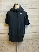 NIKE Mens size M black short sleeve Hooded Pullover Sweat shirt