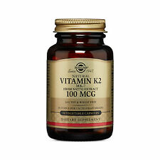 Solgar Natural Vitamin K2 (MK-7) 100 mcg 50 Vegetable Capsules FRESH Made In USA