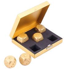 5PCS Golden 6 Side Dice Set & Metal Case For Party Home Games Aluminum Alloy Pop