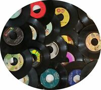 """100 45 rpm Lot of Vinyl 7"""" Records for Arts Crafts, Party Decorations, Coasters"""