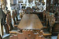 (Art.:M-1913) Schöne Jagdzimmer Sitzgruppe (Tisch, 8 Stühle und 2 Sessel) Top