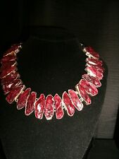 necklace narrow red chipped druzy Cleopatra cluster adj.