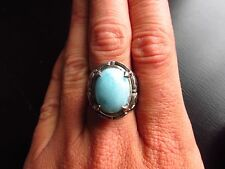 Gorgeous 925 Sterling Silver Larimar Ring Size 8 Big&Bold