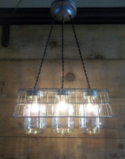 Farmhouse Chandelier 3-Mason Jar Ceiling Light Fixture Milk Crate Wire Basket