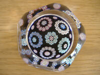 MINT WHITEFRIARS ART GLASS FACETED MILLEFIORI PAPERWEIGHT PRESSE PAPIER SULFUR*