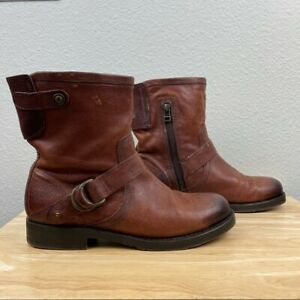 Olukai Nahuku Short Womens 8 Brown Leather Moto Harness Boots Rubber Sole EUC