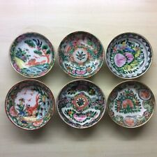 Six Antique Cantonese Hand Painted Famille Rose Sauce Bowls All Different Design