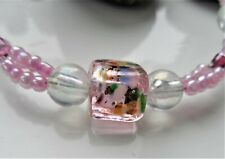 Handmade Glass Bead Bracelet ~ Pink Lampwork Feature Bead With Pink Beads NEW