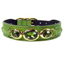 "NWT Hartman & Rose Pet Cat or Dog Italian Green Leather Collar 22k Gold 8-10"""
