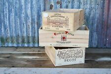 3 X LARGE RECLAIMED WOODEN WINE BOX/CRATE/STORAGE/SHELF/DRAWER/HAMPER/BOXES