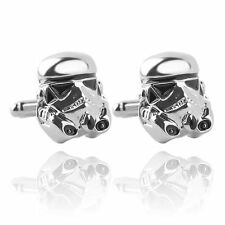 Star Wars Clone Storm Trooper Mens Novelty Silver Plated Zinc Alloy Cufflinks