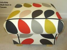Orla Kiely Multi Stem Tomato Red Fabric Footstool Pouffe Mustard Footstall New