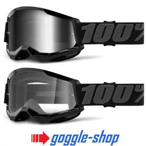 100% STRATA 2 MOTOCROSS MX BIKE MTB GOGGLES BLACK CLEAR / MIRROR LENS