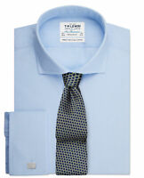 T.M.Lewin Mens Regular Fit Light Blue End-on-End Cutaway Collar Double Cuff