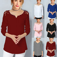 Women Lace Flower V-Neck Long Sleeve Tops Blouse T-Shirt Loose Casual Work Shirt