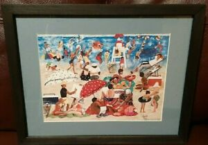 WAVES AT INKWELL by Annie Lee / Framed African American Beach Art Print