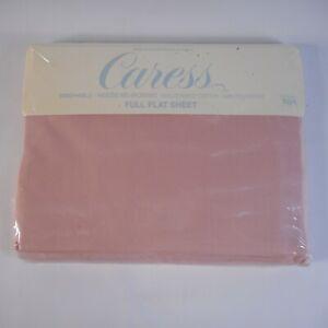 Caress Solid Rosebud Pink Flat Sheet Full 81 x 96 For Mervyns by Stephens