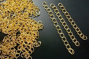 """100 Necklace Extenders Gold plated 2"""" twist cable link 5mm 14ft CH101"""