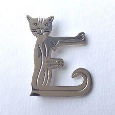 Sterling Silver 925 Alphabet 'E' Cat Brooch Pin Not Scrap