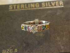 New Sterling Silver 925 Thailand Pink Blue Yellow Clear Crystal Ring Size 8