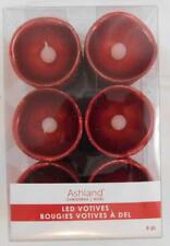 Ashland Christmas Holiday LED Votives Candle Set New 6 Pc Red Glitter