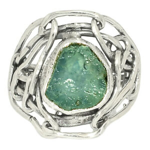 Aquamarine Rough 925 Sterling Silver Jewelry Ring s.6 AR219707
