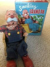 Battery Operated Smoking Grand Pa Tin Toy tested original box