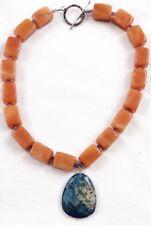 Genuine Large Lapis Lazuli Faceted Pendant & Amazonite Caramel Toggle Necklace