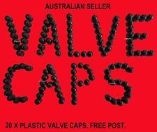 VALVE CAPS PLASTIC TYPE CAP TYRE SEAL 20 OF CAR OFF ROAD NEW CORE SCREW ON BLACK