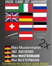 2x Aufkleber Flagge Wunsch Name Moped Kart Helm Motorrad Fahrrad Rally Boot KFZ