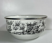 Tabletops Unlimited New England Toile Black Game Birds Metal Enamel Mixing Bowl