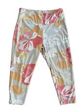 Fresh Produce M Leggings Cropped Pants Gray Floral Hawaiian Stretch Medium