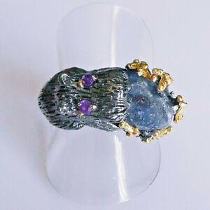 Unikat Natürlicher Saphir Amethyst Silber Ring 925 Black Rhodium Gold 18,8mm 59