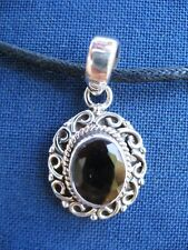 Handmade Solid 925 Sterling Silver & Smoky Quartz Pendant Necklace 925021