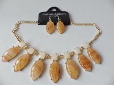 Statement Necklace 29: Amber with Gold Plated Chain & Matching Drop Earrings