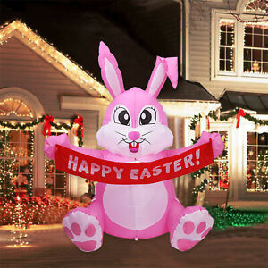 Easter Inflatable Standing Bunny Inflatable Model Glowing Holiday Decoration New