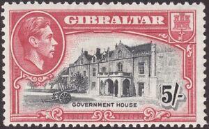 Gibraltar 1944 KGVI 5sh Black and Carmine Perf 13 Mint SG129b cat £35