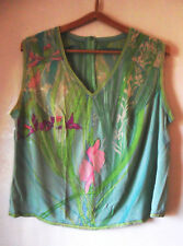 Vintage 70s Silk Jersey LEONARD Paris Pale Green TOP Pink, Purple Flowers V Neck
