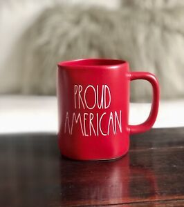 New Rae Dunn RED Proud American 2021 4th July Mug 🇺🇸🇺🇸🇺🇸