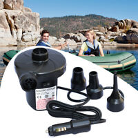 12V Car Auto DC Electric Air Pump Inflator +3 Nozzles Air Bed Mattress Boat