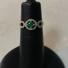 18ky Gold 0.40ct Emerald and Diamond Ring (J12)