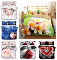 3D Rose Bedding Set Flowers Print Comforter/Duvet Cover Pillowcase Quilt Cover