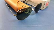 Authentic Ray-Ban Aviator RB3025 W3236 55 Gunmetal Frame Green Lens Sunglasses