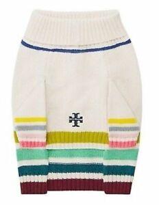 Tory Burch Multi Colored Striped Marino Wool Dog Pet Sweater L M NWT